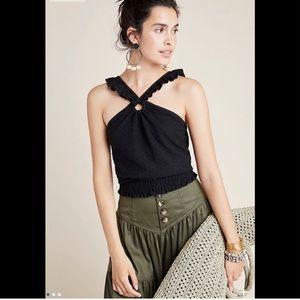 NWT Anthro Marisol Ruffled Halter Blouse - size XL